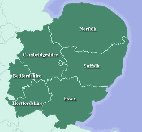 East of England Region Map