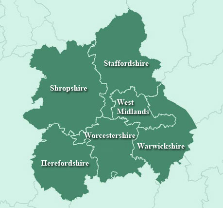 West Midlands Region Map