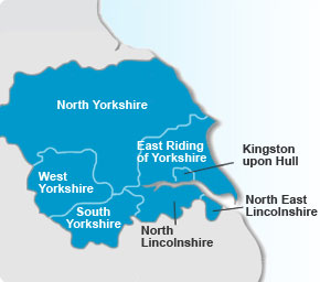 Yorkshire and The Humber Region Map