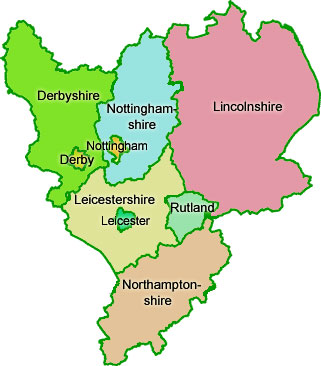 East Midlands Region Map
